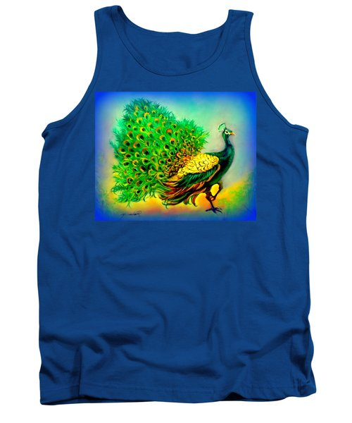 Blue Peacock Tank Top