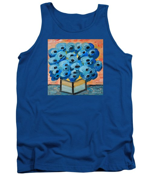 Blue Poppies In Square Vase  Tank Top by Ramona Matei