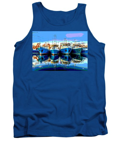 Blue Shrimp Boats Tank Top by Charles Shoup