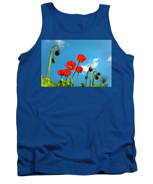 Tank Top featuring the photograph Blue Sky And Poppies by Tamyra Ayles