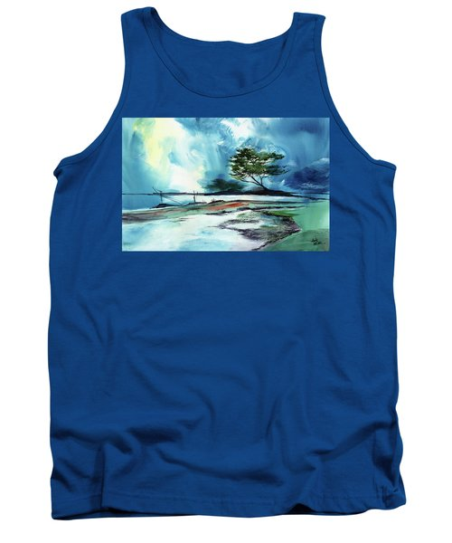 Tank Top featuring the painting Blue Sky by Anil Nene