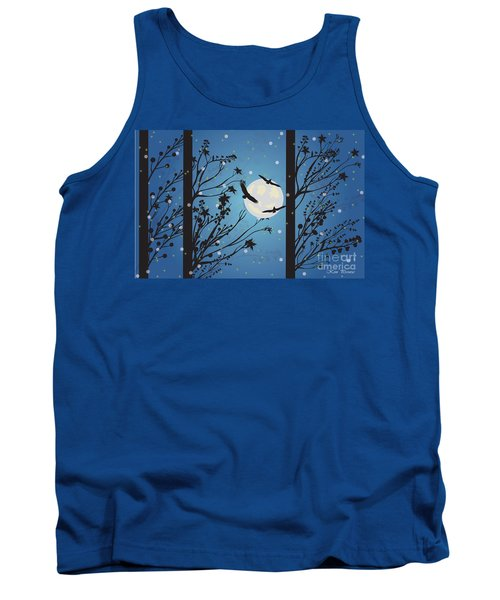 Tank Top featuring the digital art Blue Winter Moon by Kim Prowse