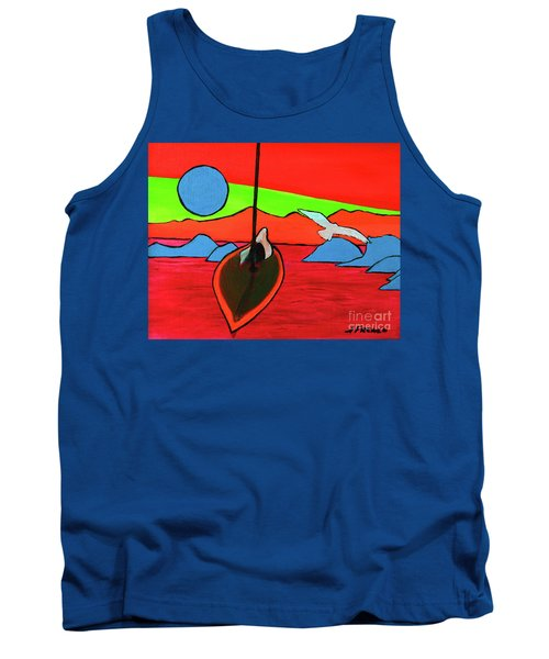 Boat, Bird And Moon Tank Top