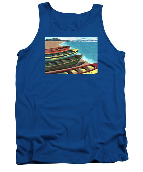 Tank Top featuring the painting Boats In A Row by Kathleen Sartoris