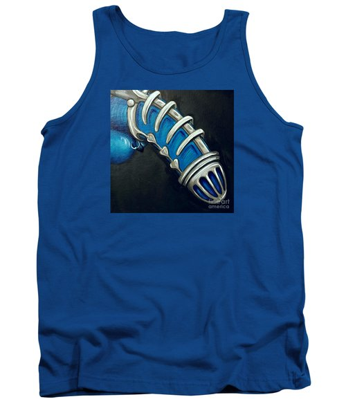Tank Top featuring the painting Bondage In Blue  by Lisa Arbitrary