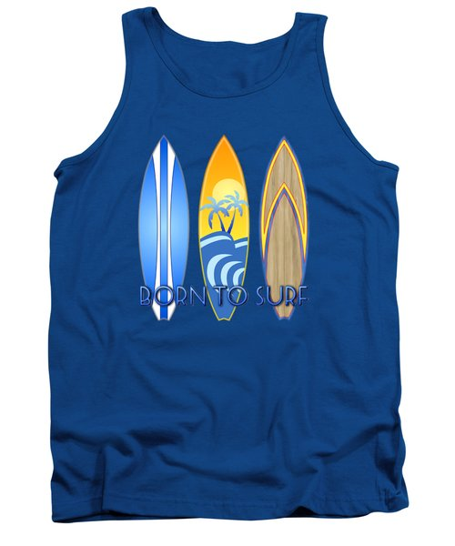 Born To Surf And Tiki Masks Tank Top