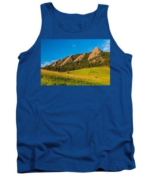 Boulder Colorado Flatirons Sunrise Golden Light Tank Top