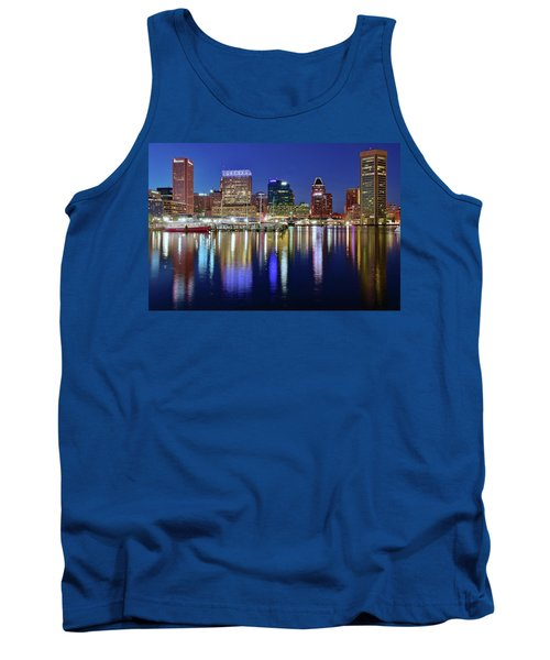 Tank Top featuring the photograph Bright Blue Baltimore Night by Frozen in Time Fine Art Photography