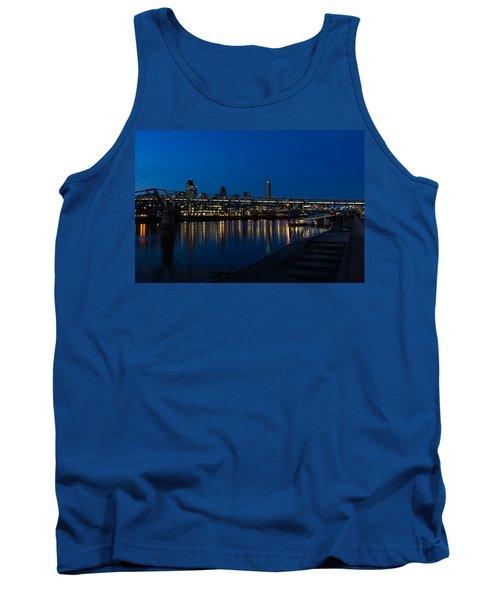 British Symbols And Landmarks - Millennium Bridge And Thames River At Low Tide Tank Top