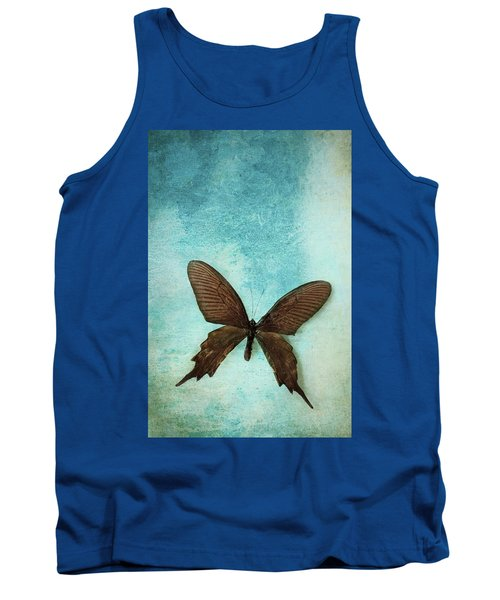Brown Butterfly Over Blue Textured Background Tank Top