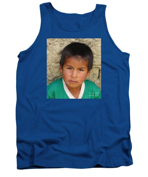 Tank Top featuring the photograph Brown Eyed Bolivian Boy by Lew Davis