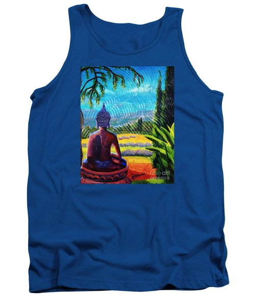 Tank Top featuring the painting Buddha Atop The Lavender Farm by Janet McDonald