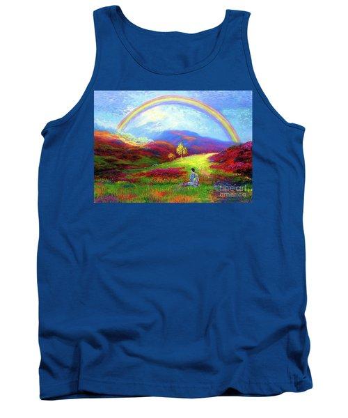 Tank Top featuring the painting Buddha Chakra Rainbow Meditation by Jane Small