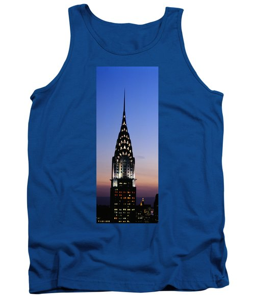 Building Lit Up At Twilight, Chrysler Tank Top by Panoramic Images