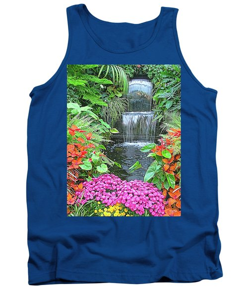 Tank Top featuring the photograph Butchart Gardens Waterfall by Wendy McKennon