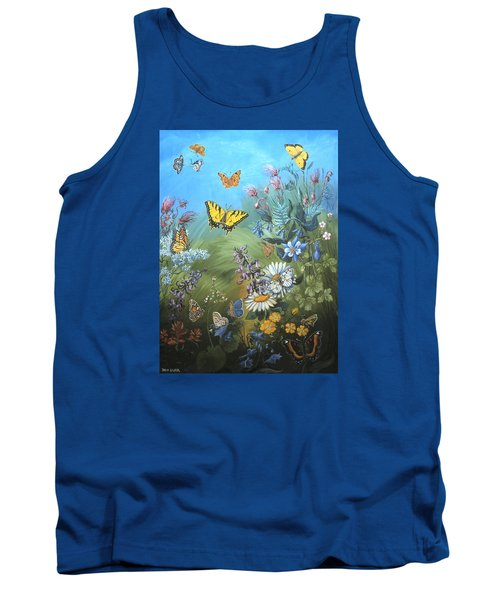 Butterflies And Wildflowers Of Wyoming Tank Top by Dawn Senior-Trask