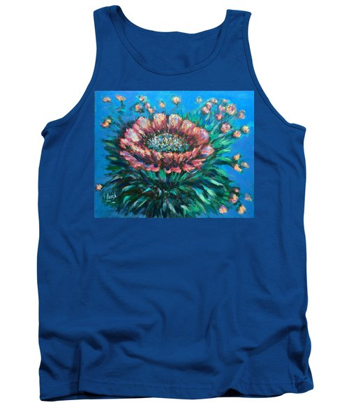 Tank Top featuring the painting Cactus Flowers by Laila Awad Jamaleldin