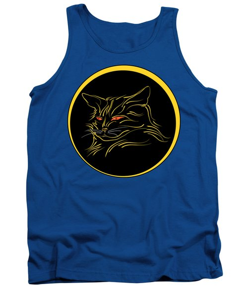 Calligraphic Black Cat And Moon Tank Top