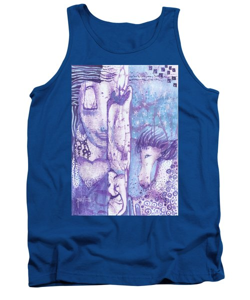 Tank Top featuring the mixed media Calling Upon The Spirit Animals by Prerna Poojara