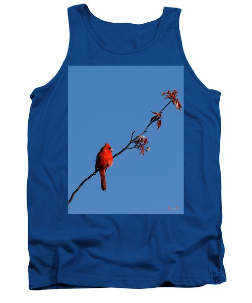 Tank Top featuring the photograph Cardinal On A Cherry Branch Dsb033 by Gerry Gantt