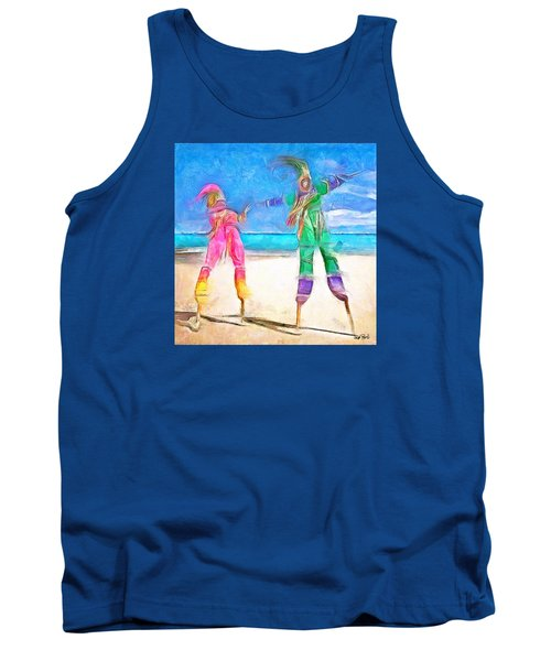 Tank Top featuring the painting Caribbean Scenes - Moko Jumbie by Wayne Pascall
