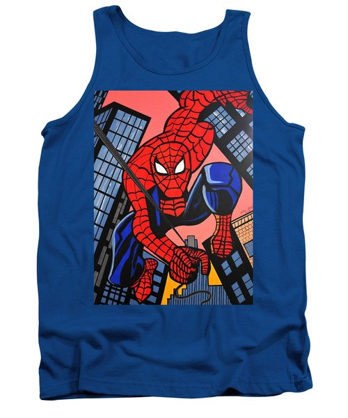Cartoon Spiderman Tank Top by Nora Shepley