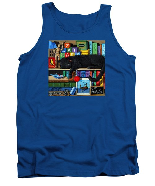 Tank Top featuring the painting Cat Nap - Orginal Black Cat Painting by Linda Apple