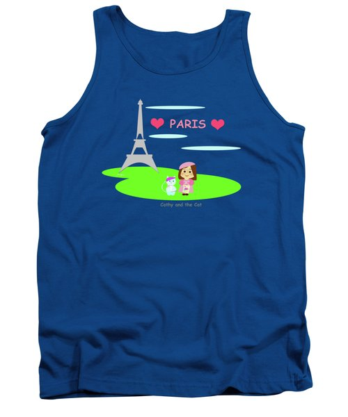 Cathy And The Cat In Paris Tank Top by Laura Greco