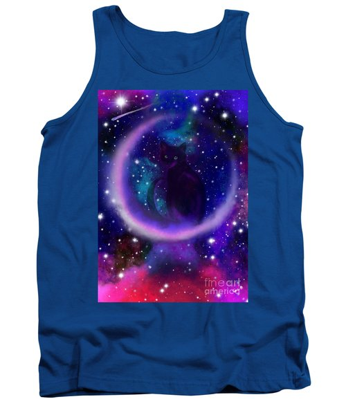 Tank Top featuring the painting Celestial Crescent Moon Cat  by Nick Gustafson