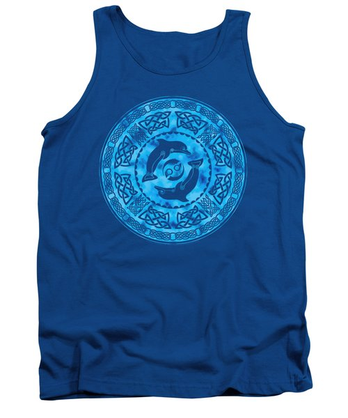 Tank Top featuring the mixed media Celtic Dolphins by Kristen Fox