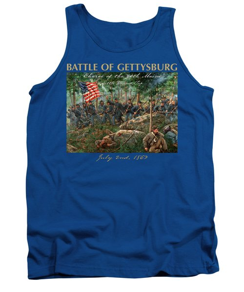 Charge Of The 20th Maine - Joshua L. Chamberlain Leading The 20th Maine Regiment On Little Round Top Tank Top