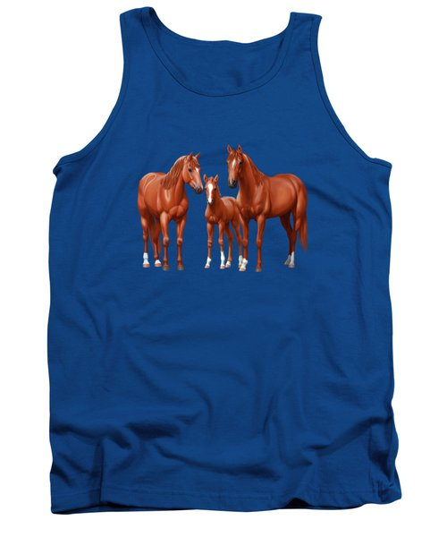Chestnut Horses In Winter Pasture Tank Top