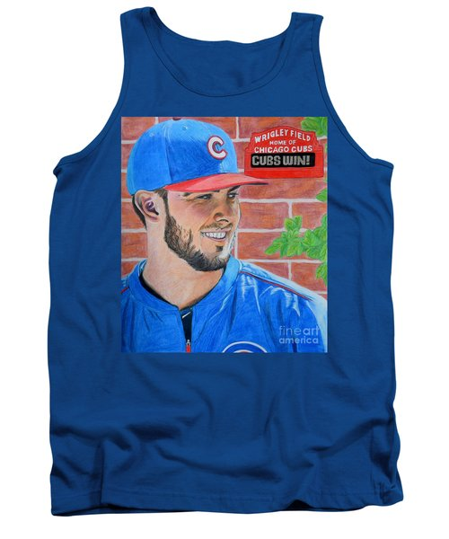 Tank Top featuring the drawing Chicago Cubs Kris Bryant Portrait by Melissa Goodrich