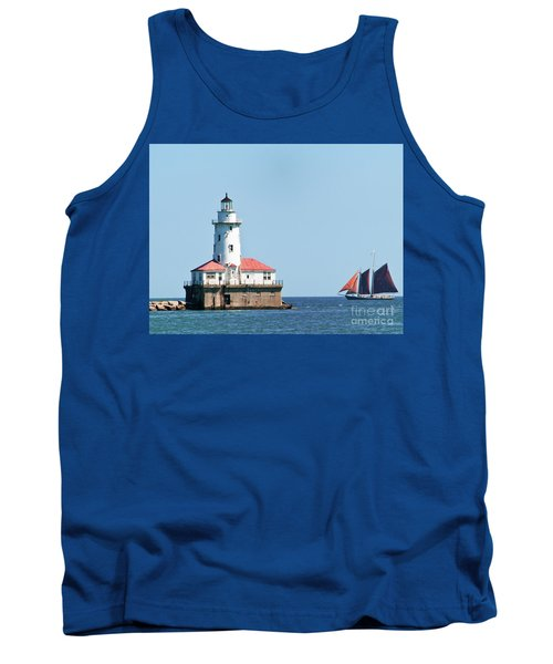 Chicago Harbor Lighthouse And A Tall Ship Tank Top