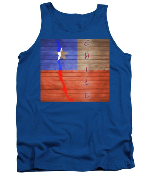 Chile Rustic Map On Wood Tank Top