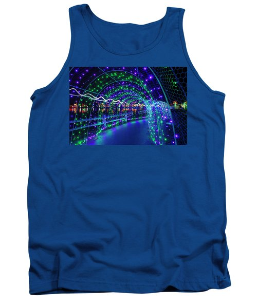 Christmas Lights In Tunnel At Lafarge Lake Tank Top