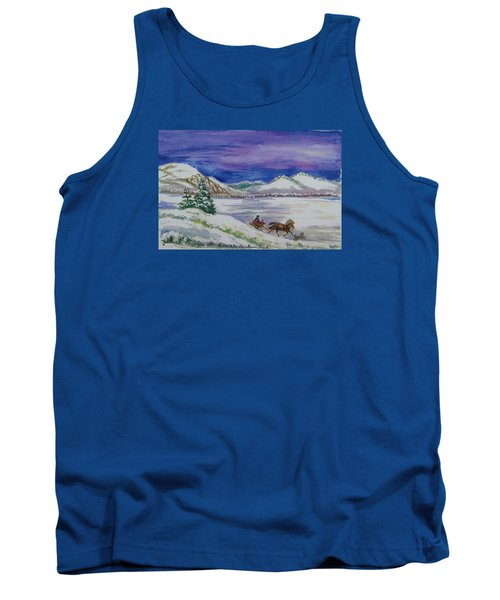 Tank Top featuring the painting Christmas Sleigh by Dawn Senior-Trask