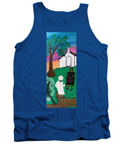 Tank Top featuring the painting Church Ladies  by Mildred Chatman