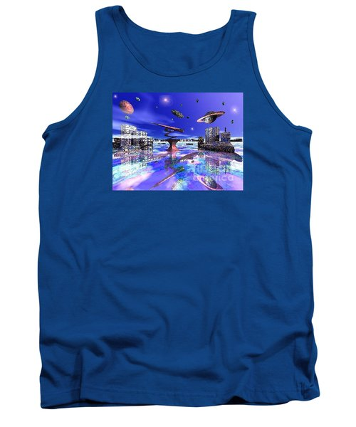 Tank Top featuring the digital art City Of New Horizions by Jacqueline Lloyd