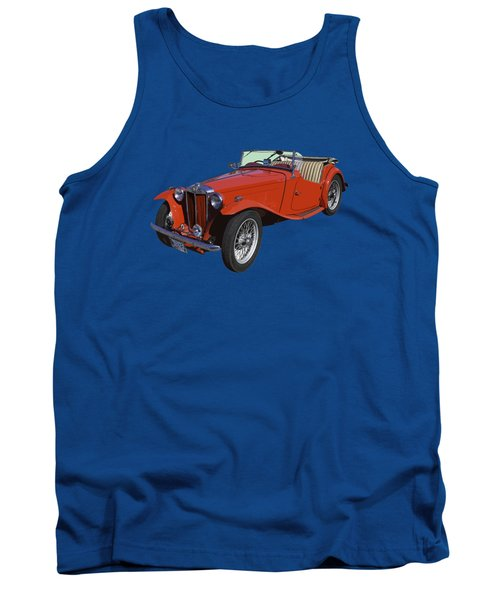 Classic Red Mg Tc Convertible British Sports Car Tank Top