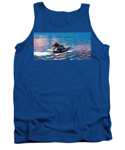 Tank Top featuring the photograph Coast Guard Out To Sea by Aaron Berg