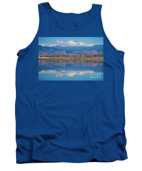 Colorado Longs Peak Circling Clouds Reflection Tank Top
