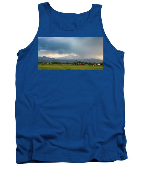 Tank Top featuring the photograph Colorado Rocky Mountain Red Barn Country Storm by James BO Insogna