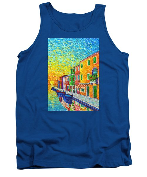 Colorful Burano Sunrise - Venice - Italy - Palette Knife Oil Painting By Ana Maria Edulescu Tank Top
