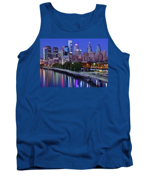 Tank Top featuring the photograph Colorful Philly Night Lights by Frozen in Time Fine Art Photography