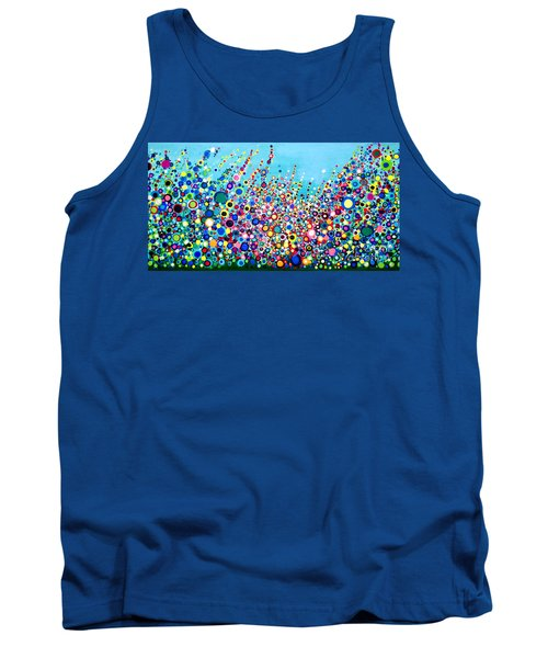 Tank Top featuring the painting Colorful Spring Flowers by Maja Sokolowska