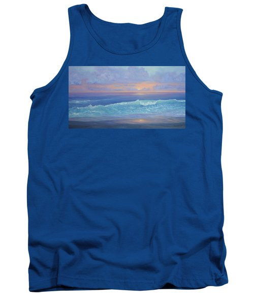 Cape Cod Colorful Sunset Seascape Beach Painting With Wave Tank Top