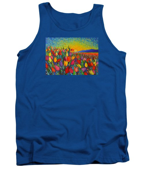 Colorful Tulips Field Sunrise - Abstract Impressionist Palette Knife Painting By Ana Maria Edulescu Tank Top by Ana Maria Edulescu