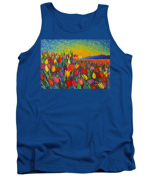 Colorful Tulips Field Sunrise - Abstract Impressionist Palette Knife Painting By Ana Maria Edulescu Tank Top