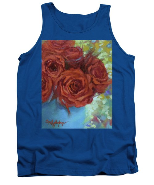 Contemporary Red Roses With Confetti Background Tank Top
